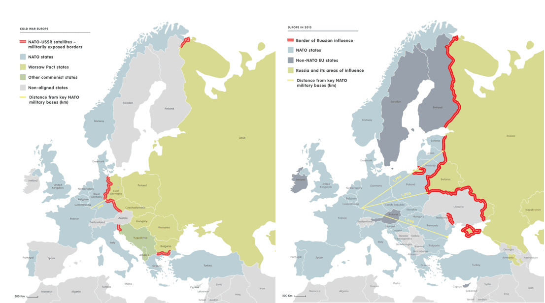 Figure 1 Map of the comparative border between NATO/EU and the USSR during the Cold War era and afterwards