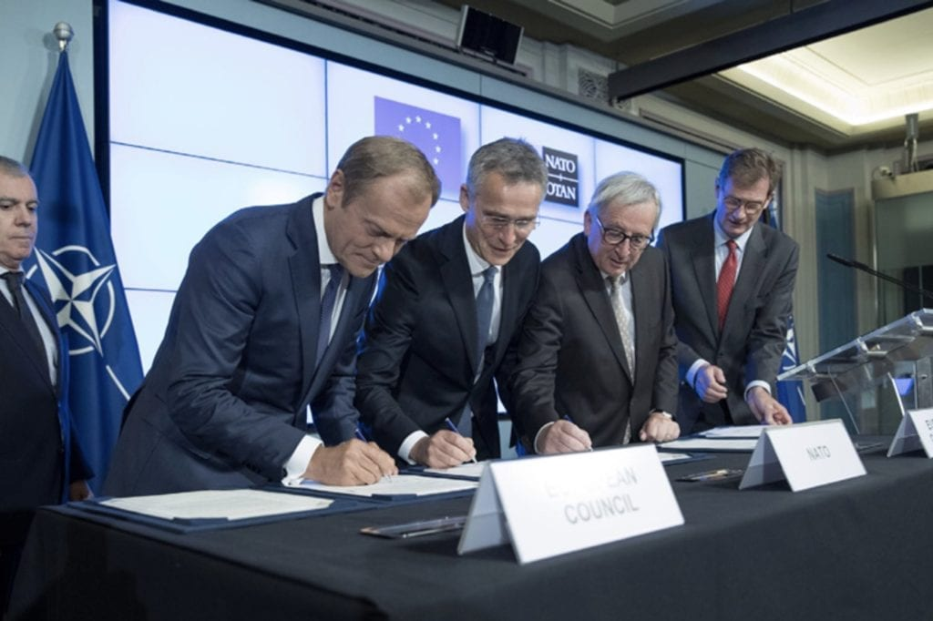 Figure 2. Photo of signing ceremony for joint EU-NATO declaration, Warsaw, 2016