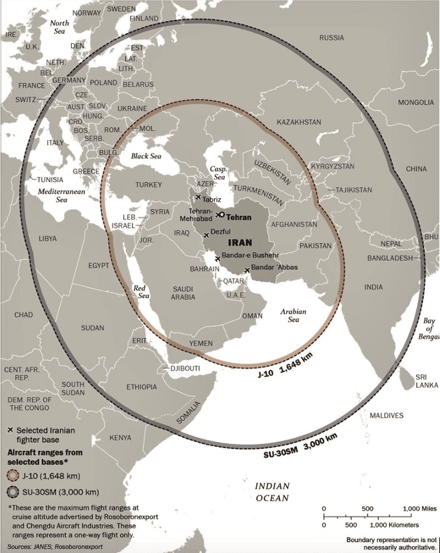Figure 1 Projected Iranian Aircraft Ranges with New Acquisitions